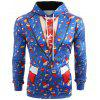 3D Christmas Elements Blazer Print Hoodie - OCEAN BLUE
