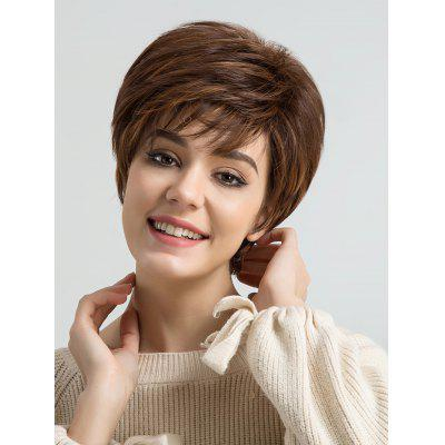 Inclined Bangs Short Layer Colormix Straight Synthetic Wig