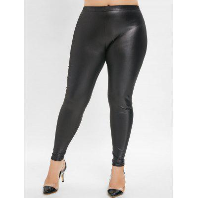 Plus Size Elastic Waist Faux Leather Leggings