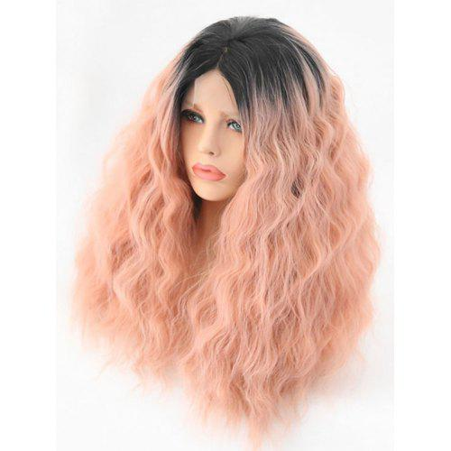 Middle Part Long Fluffy Colormix Corn Hot Wavy Lace Front Synthetic Wig