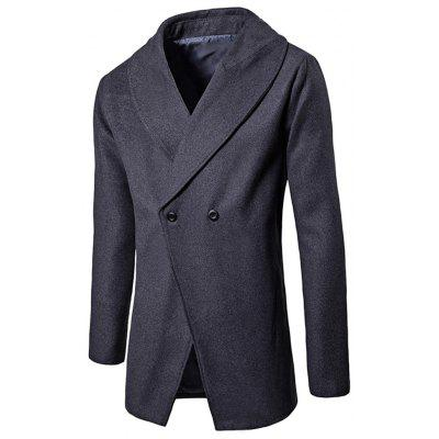 Convertible Butoon Shawl Collar Wool Blend Coat