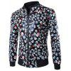 Skull Print Zip Up Faux Leather Jacket - BLACK