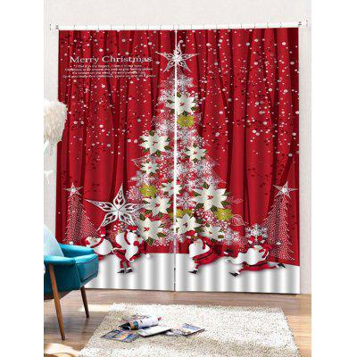 2 Panels Christmas Floral Tree Print Window Curtains