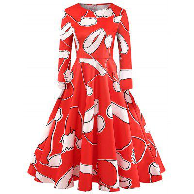 Christmas Hat Print Fit and Flare Dress