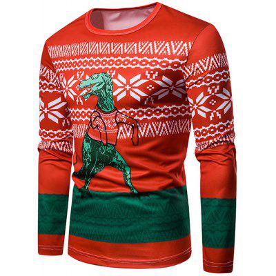 Christmas 3D Dinosaur Printed Crew Neck T-shirt