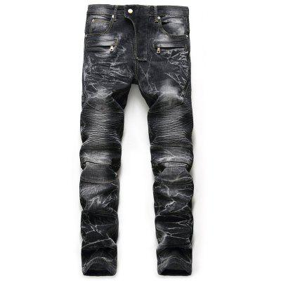 Zip Fly Snow Wash Straight Biker Jeans