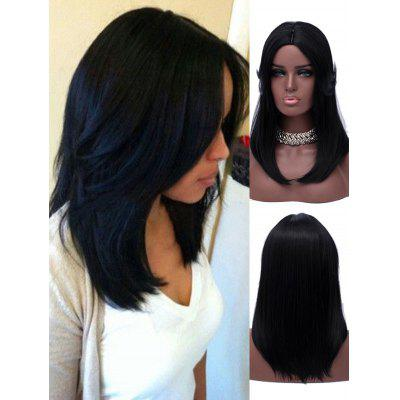Long Tail Upwards Center Parting Straight Synthetic Wig