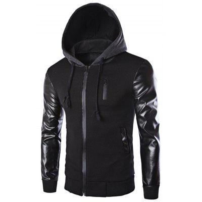 Drawstring Hooded PU Leather Spliced Zipper Design Long Sleeves Men's Slimming Jacket
