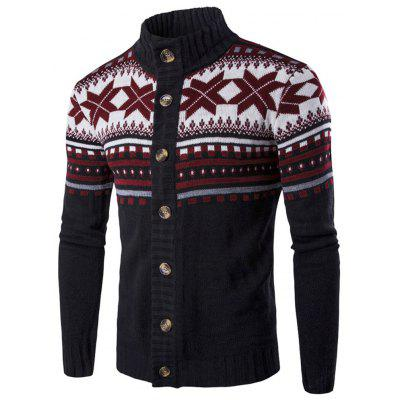 Geometric Snowflake Pattern Christmas Knitted Cardigan