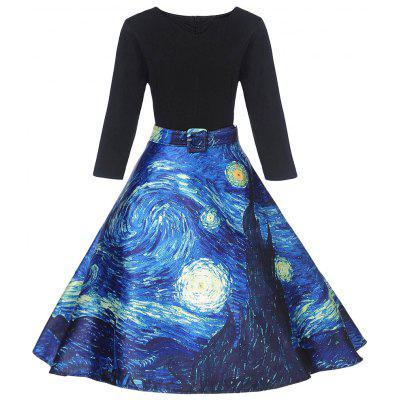 Vintage Starry Sky Print Fit and Flare Dress