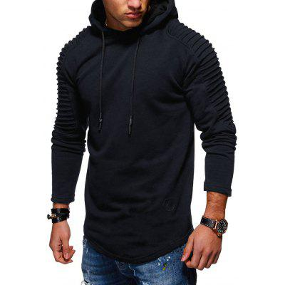 Solid Pleated Sleeve Patch Detail Long Fleece Hoodie
