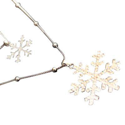 Stylish Layered Cut Out Rhinestone Snowflake Charm Sweater Chain For Women