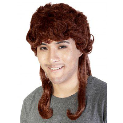 Medium Side Bang Layered Curly Men Synthetic Wig