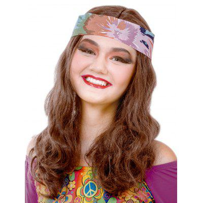 Long Center Parting Wavy Party Synthetic Wig with Hair Band