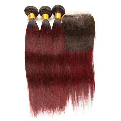 Real Human Hair Ombre Straight Virgin Hair Weaves with Closure