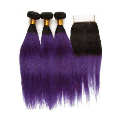 3Pcs Ombre Straight Human Hair Virgin Hair Weaves with Closure