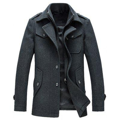 Epaulet Design Wool Blend Faux Twinset Jacket