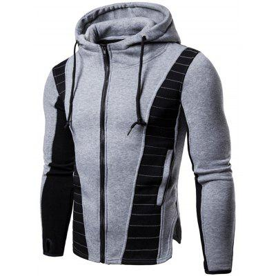 Drawstring Zip Up Color Block Hoodie