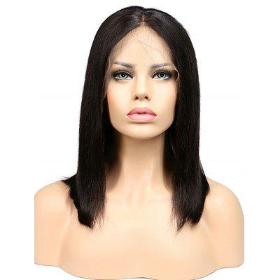 Human Hair Middle Part Straight Bob Lace Front Wig