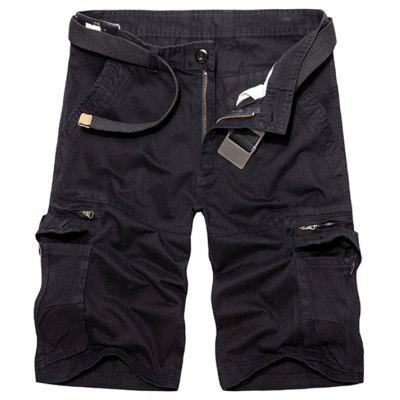 Casual Loose Fit Multi-Pockets Zip Fly Sólidos Cargo Shorts For Men