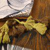 Voile Color Block Tassel Eagle Print Scarf - YELLOW