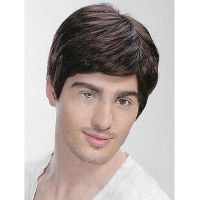 Short Side Bang Straight Human Hair Men Wig