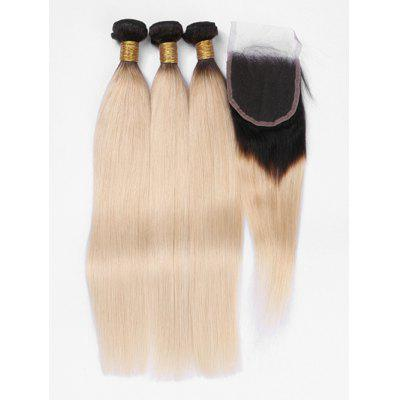 3Pcs Human Hair Ombre Straight Hair Weaves with Lace Closure