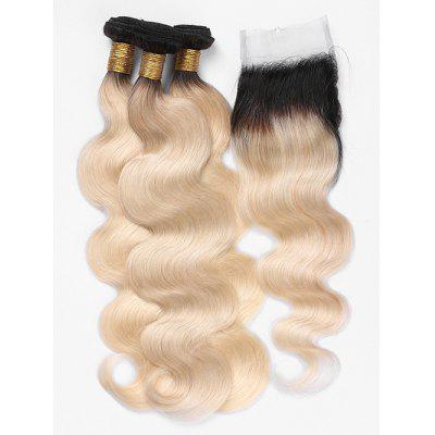 Brazilian Virgin Human Hair Ombre Body Wave Hair Weaves with Lace Closure