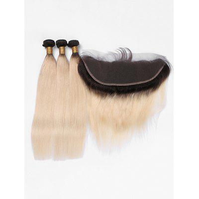 Real Human Hair Ombre Straight Hair Weaves with Lace Closure