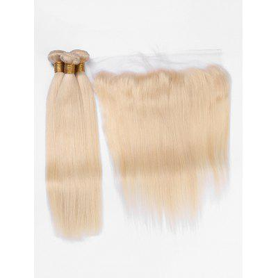 3Pcs Straight Human Hair Brazilian Virgin Hair Weaves with Lace Closure