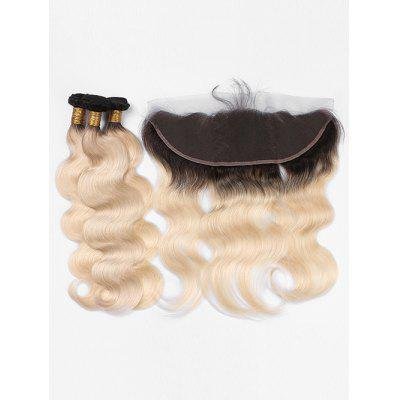 Real Human Hair Ombre Body Wave Brazilian Virgin Hair Weaves with Lace Closure