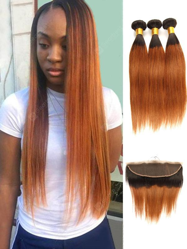 3pcs Ombre Straight Human Hair Weaves With Lace Frontal Closure