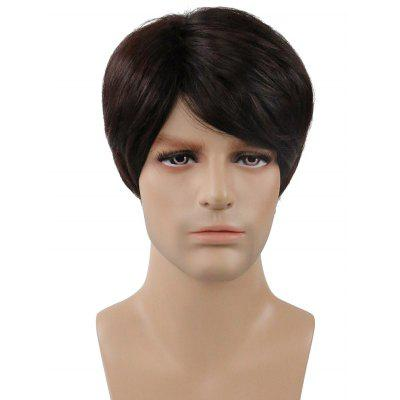 Inclined Bang Short Capless Straight Synthetic Men Wig