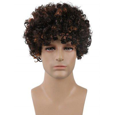 Short Side Bang Colormix Kinky Curly Synthetic Men Wig