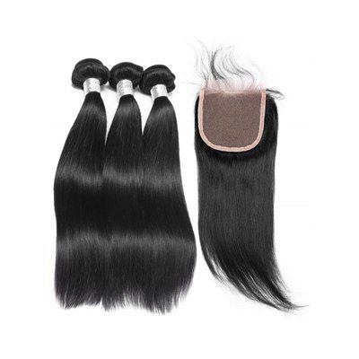 3Pcs Real Human Hair Straight Hair Weaves with Lace Closure