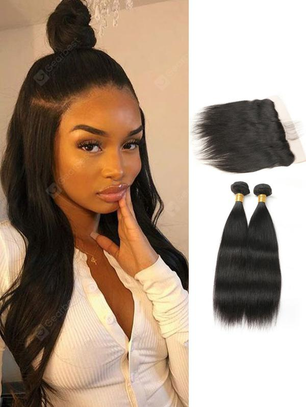 Straight Human Hair Brazilian Virgin Hair Weaves With Lace Frontal Closure