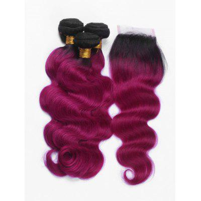 Ombre Body Wave Brazilian Virgin Hair Weaves with Lace Closure