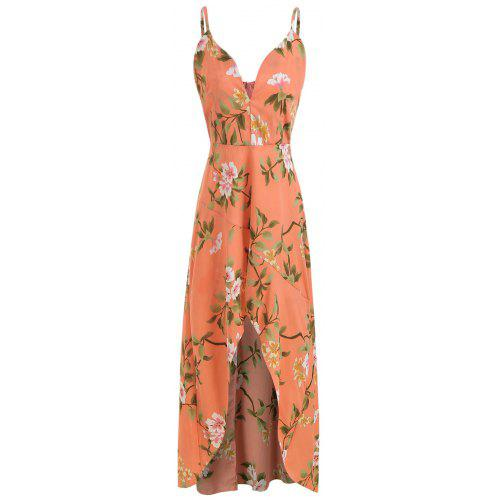 faa7815fbab3b Spaghetti Strap Floral Print Flounce High Low Dress - $41.52 Free ...