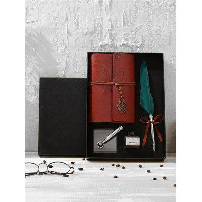 Feather Quill Pen Notebook and Ink In A Box