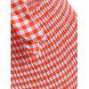 Tie Front Gingham Shirred Body - MULTICOLOR