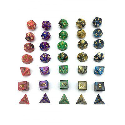 5 x 7-Die Series Table Games Dice with Free Pouches