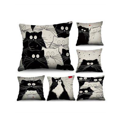6 Pcs Valentines Day Cats Couple Pattern Decorative Linen Pillowcases