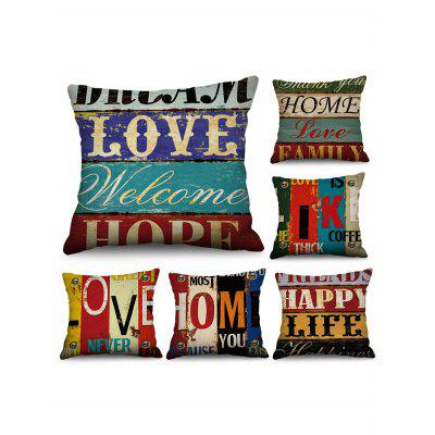 6 Pcs Wood Grain Letters Print Decorative Linen Pillowcases