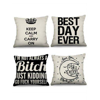 4 Pcs Letters Print Decorative Linen Pillowcases