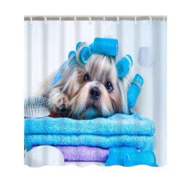 Bathing Dog Pattern Shower Curtain