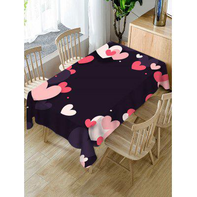 Valentines Day Heart Print Waterproof Tablecloth