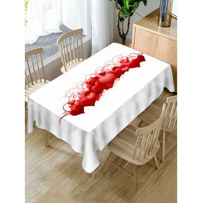 Valentines Day Hearts Print Fabric Waterproof Tablecloth