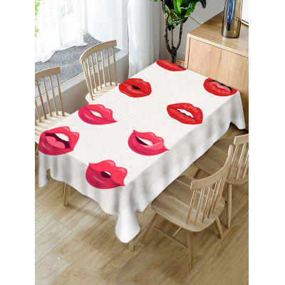 Red Lip Print Fabric Waterproof Tablecloth