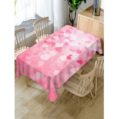 Valentines Day Hearts Print Waterproof Tablecloth