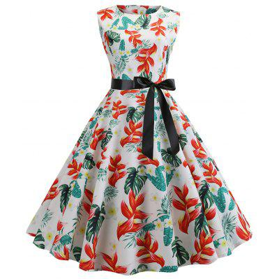 Belted Flower A Line Vintage Dress